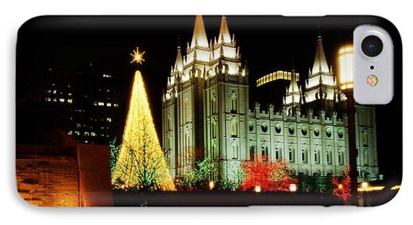 Salt Lake Temple Christmas Tree Phone Case by La Rae  Roberts
