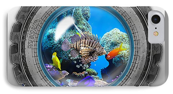 Saltwater Tire Aquarium IPhone Case by Marvin Blaine