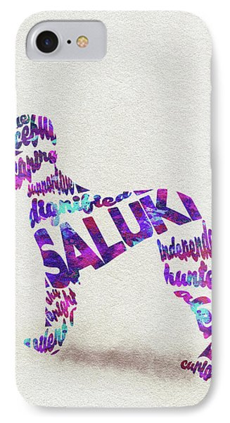 IPhone Case featuring the painting Saluki Dog Watercolor Painting / Typographic Art by Ayse and Deniz