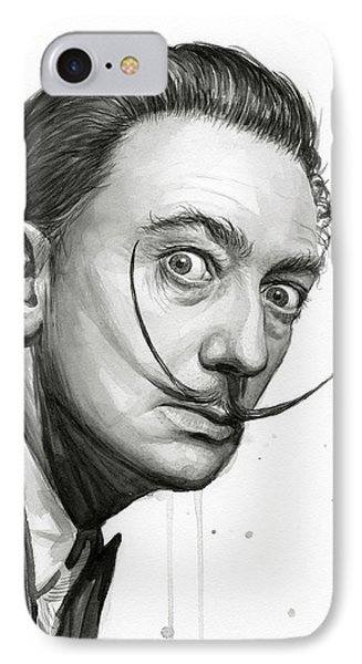 Salvador Dali Portrait Black And White Watercolor IPhone Case by Olga Shvartsur