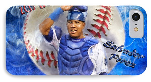 Salvador Perez 2015 World Series Mvp IPhone Case by Colleen Taylor