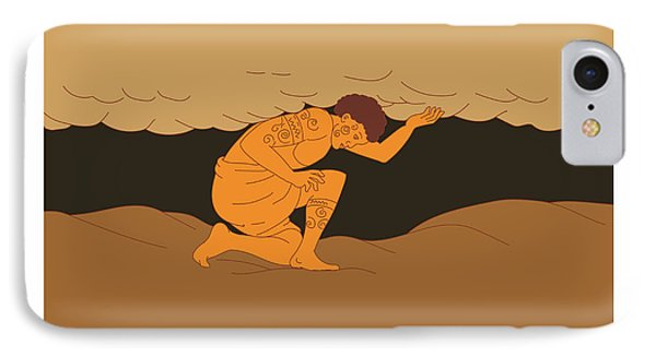 Samoan Atlas Holding Sky From Earth Drawing IPhone Case by Aloysius Patrimonio