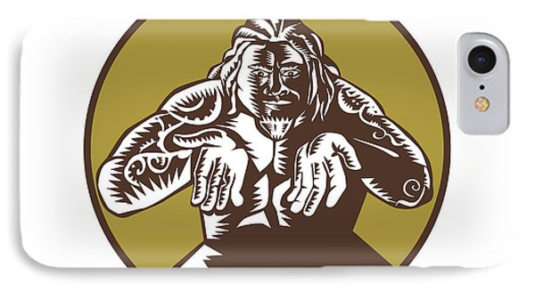 Samoan God Tagaloa Arms Out Circle Woodcut IPhone Case