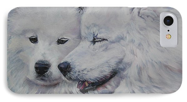 Samoyed Conversation IPhone Case by Lee Ann Shepard