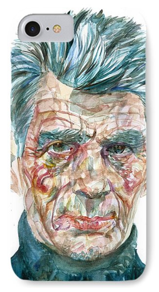IPhone Case featuring the painting Samuel Beckett Watercolor Portrait.10 by Fabrizio Cassetta