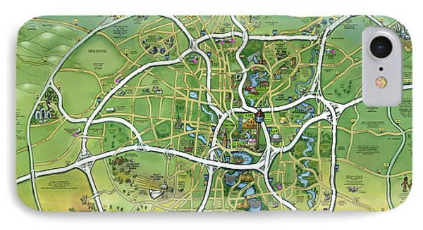 San Antonio Texas Cartoon Map IPhone Case