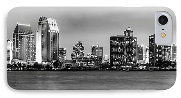 San Diego Skyline At Night Black And White Picture IPhone Case