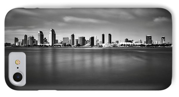 IPhone Case featuring the photograph San Diego Skyline - Black And White by Photography  By Sai