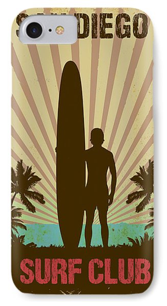 IPhone Case featuring the digital art San Diego Surf Club by Greg Sharpe