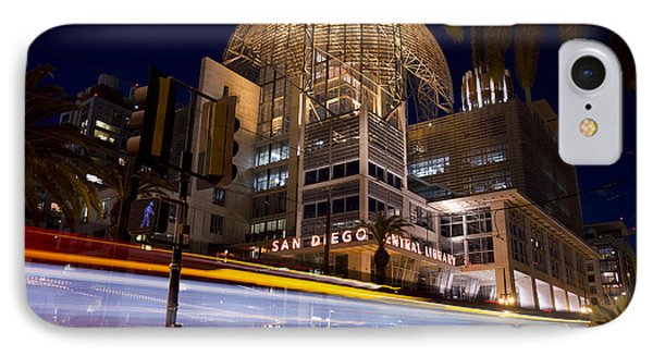 IPhone Case featuring the photograph San Diego Trolley In Front Of The San Diego Public Library by Nathan Rupert