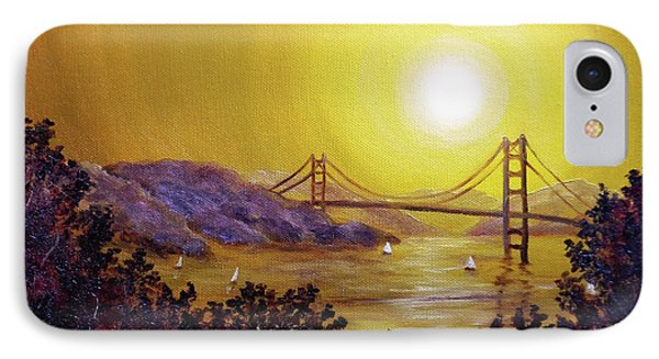 San Francisco Bay In Golden Glow IPhone Case by Laura Iverson