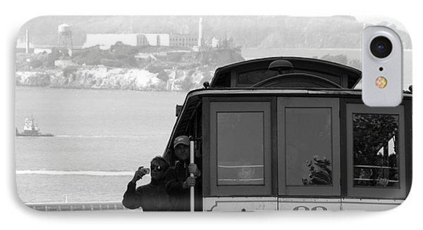 San Francisco Cable Car With Alcatraz IPhone Case by Shane Kelly