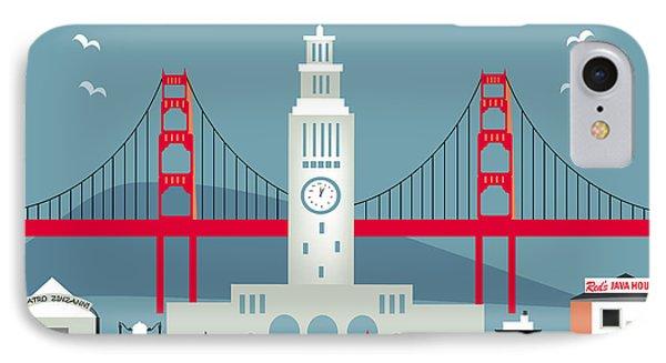 San Francisco California Horizontal Skyline - Ferry Building IPhone Case