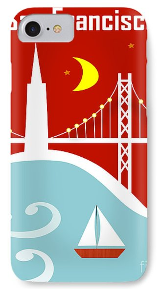 San Francisco California Vertical Scene - East Bay Bridge And Boat IPhone Case by Karen Young