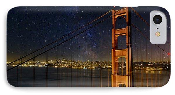 San Francisco City Skyline Through Golden Gate Bridge Phone Case by David Gn