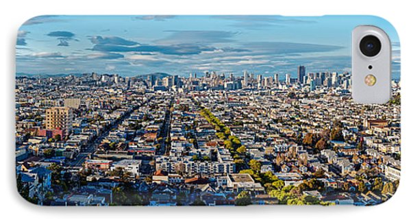 San Francisco Skyline From Bernal Heights Park At Sunset - San Francisco California IPhone Case by Silvio Ligutti