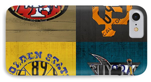 San Francisco Sports Fan Recycled Vintage California License Plate Art 49ers Giants Warriors Sharks IPhone 7 Case by Design Turnpike