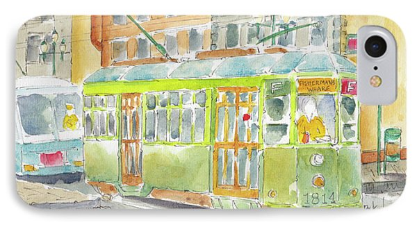 IPhone Case featuring the painting San Francisco Streetcar by Pat Katz