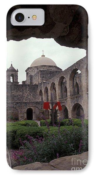 San Jose Mission Courtyard San Antonio Texas  IPhone Case by John  Mitchell