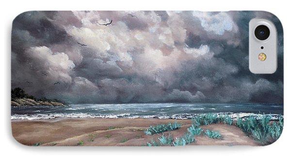 Sand Dunes Under Darkening Skies IPhone Case by Laura Iverson