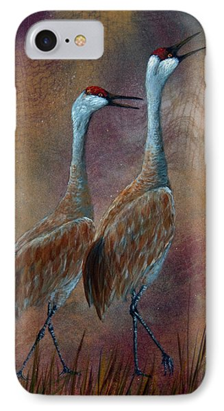Sandhill Crane Duet Phone Case by Dee Carpenter