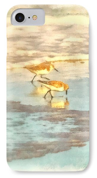 Sandpipers Along The Shoreline Phone Case by Betsy Foster Breen