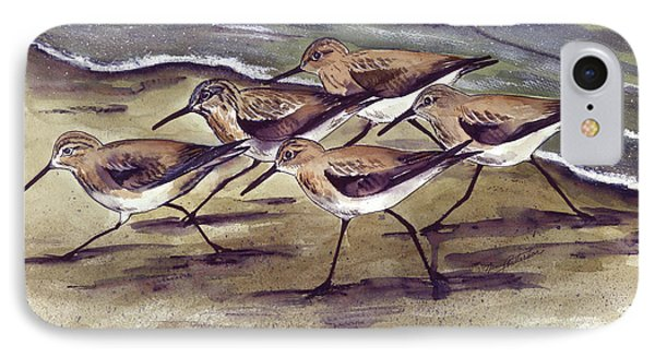 IPhone Case featuring the painting Sandpipers by Nancy Patterson