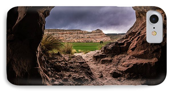 Sandstone Cave In Stormy Weather - Moab - Utah IPhone Case