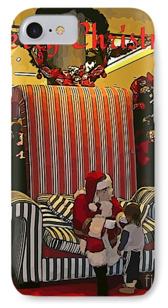 Santa And Child IPhone Case by John Malone