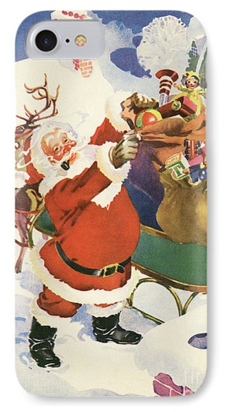 Santa And His Bags Of Toys On Christmas Eve IPhone Case by American School