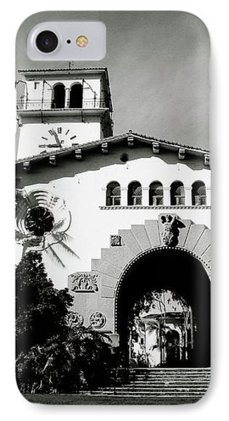 Santa Barbara Courthouse Black And White-by Linda Woods IPhone Case by Linda Woods