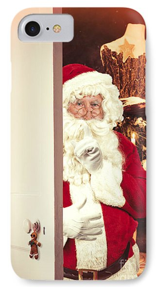Santa Claus At Open Christmas Door IPhone Case