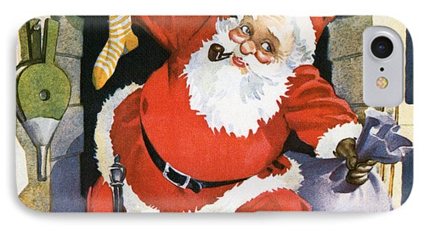 Santa Claus Emerging From The Fireplace On Christmas Eve IPhone Case by American School