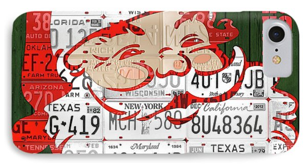 Santa Claus Ho Ho Ho Recycled Vintage Colorful License Plate Art IPhone Case by Design Turnpike