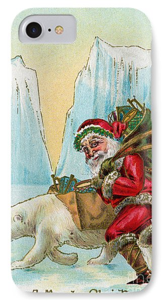 Santa Claus With A Polar Bear At The North Pole IPhone Case by American School