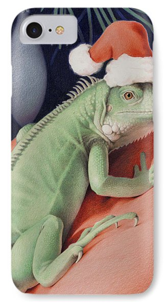 Santa Claws - Bob The Lizard Phone Case by Amy S Turner