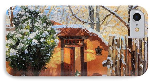 Santa Fe Adobe In Winter Snow IPhone Case by Gary Kim