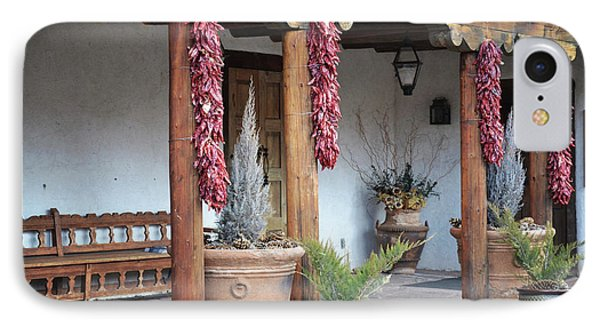 IPhone Case featuring the photograph Santa Fe Red Chili Ristra Porch by Andrea Hazel Ihlefeld