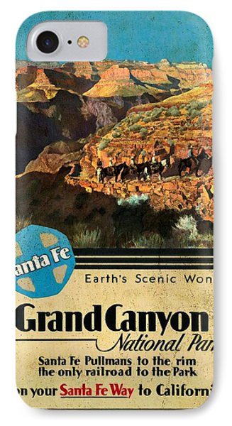 Santa Fe Train To Grand Canyon - Vintage Poster Vintagelized IPhone Case by Vintage Advertising Posters