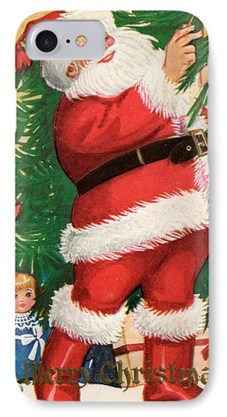 Santa Lighting Candles On A Christmas Tree IPhone Case by American School