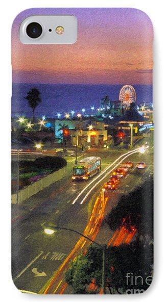 IPhone Case featuring the photograph Santa Monica Ca Pacific Park Pier  Sunset by David Zanzinger