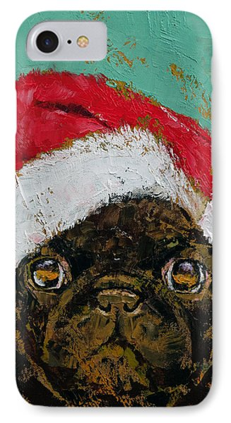 Santa Pug IPhone Case by Michael Creese