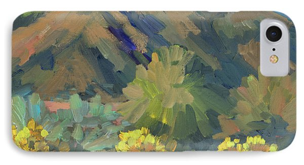 IPhone Case featuring the painting Santa Rosa Mountains And Brittle Bush by Diane McClary