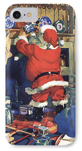 Santa Stuffing Stockings With Toys On Christmas Eve IPhone Case by American School