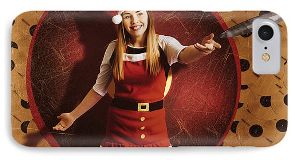 Santa Woman Spinning Christmas Music At Club IPhone Case