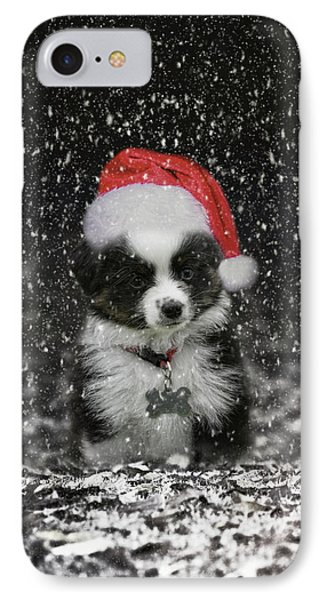 Santas Helper Christmas Puppy Art IPhone Case