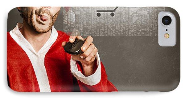 Santas Little Helper Shopping Online IPhone Case by Jorgo Photography - Wall Art Gallery