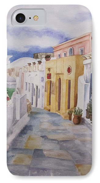 Santorini Cloudy Day IPhone Case