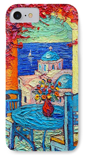 Santorini Dream Greece Contemporary Impressionist Palette Knife Oil Painting By Ana Maria Edulescu IPhone Case by Ana Maria Edulescu