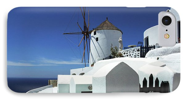 Santorini Greece Architectual Line 5 IPhone Case by Bob Christopher